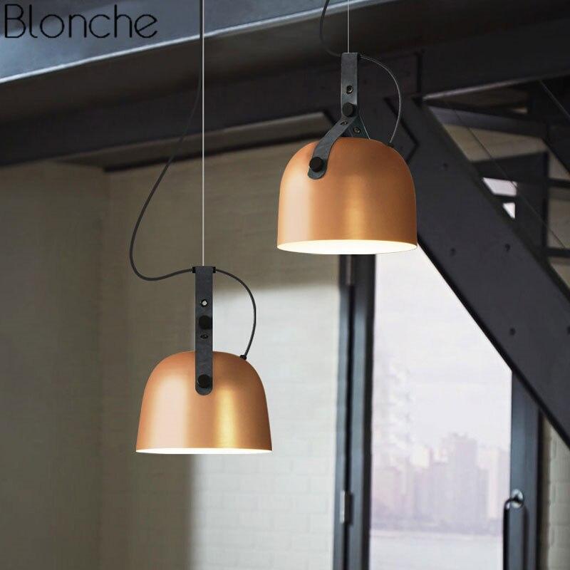 Vintage suspension lumières ceinture en cuir suspension lampe pour la maison salle à manger cuisine nordique industriel Loft décor luminaires