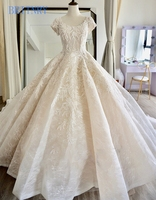 BRITNRY New Product Women Princess Elegant Short Sleeve Ball Gown Champagne Wedding Dress