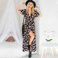 2018 Summer Dresses Women Beach Dresses V-neck dress Sexy lace up dress lady clothes Plus Size S~XXL