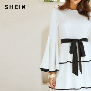 Image 5 - SHEIN Elegant White Contrast Binding Layered Ruffle Hem Belted Maxi Dress Women Autumn Ruffle Fit and Flare High Waist Dresses