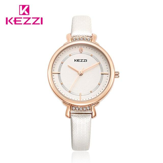 Kezzi Women Quartz-watch Fine Crystal Fine Leather Strap Ladies Watch Gold Plated Big Thin Dial  Dress Wrist Watch reloj mujer