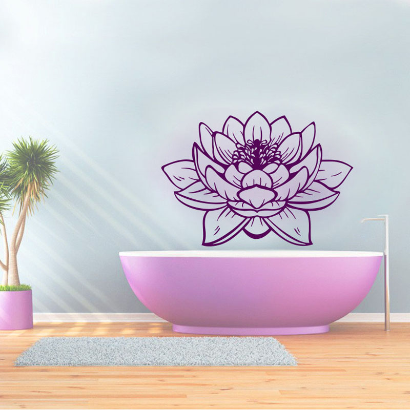 Zooyoo Beautiful Lotus Wall Sticker Purple Design Pvc Hollow Out