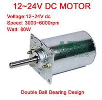 80W 3000 6000RPM 12 24V Double Ball Bearing Design High Speed DC Motor, bracket optional