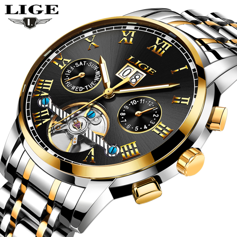 LIGE Brand Gold Watch Men Top Luxury Automatic Mechanical Watch Men Stainless Steel Clock Business Watches