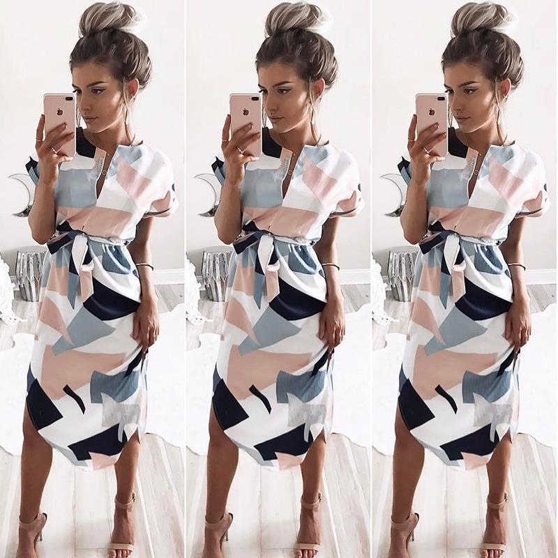 Vestidos Mujer Moda de verano Midi Lápiz Vestido Geométrico - Ropa de mujer