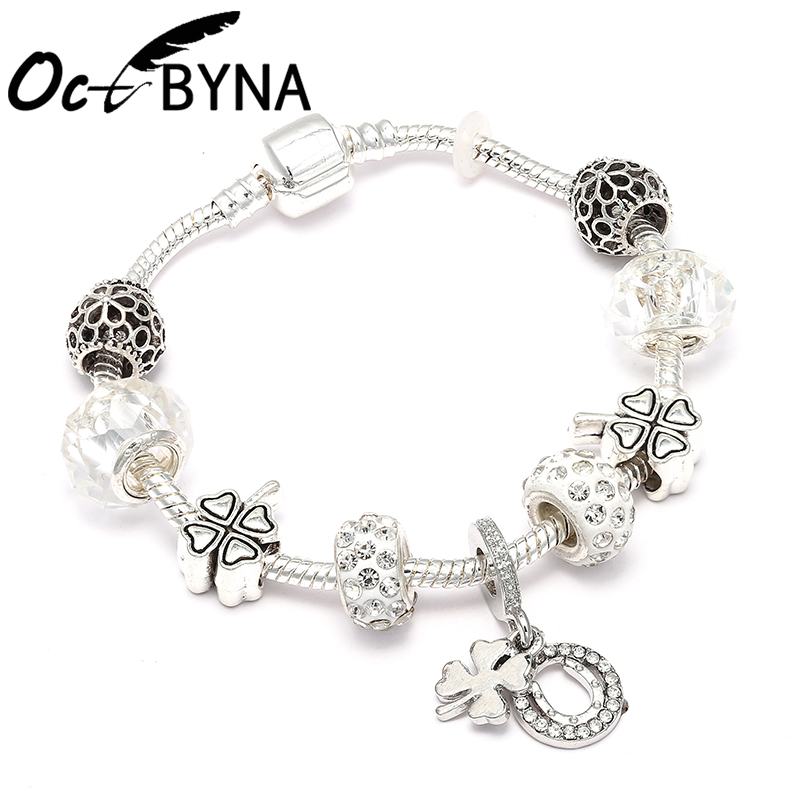 Octbyna Vogue Silver Plated Lucky Clover Pendant White Crystal Beads For Women Charm Brand Bracelet For Girl Jewelry Gift(China)