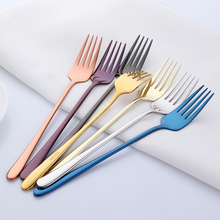 18/8 Stainless Steel Dinner Fork Colourful Long Handle