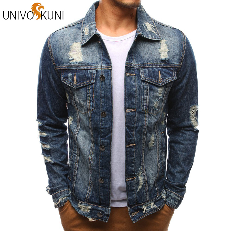 UNIVOS KUNI 2019 Solid Casual Slim Denim Jacket Bomber Jacket Men Cowboy