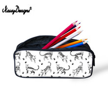 Noisydesigns Girls Women Travel Makeup Case Cometic Bag Funny Cat Pattern Print Children Pencil Bags Small Pen Pouch for Kids(China)