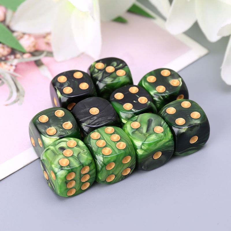 10 Pcs 16mm Resin <font><b>Dice</b></font> <font><b>D6</b></font> Black <font><b>Green</b></font> <font><b>Dice</b></font> Round Edges <font><b>Dice</b></font> KTV Bar Nightclub Entertainment Tools Adult Toys image