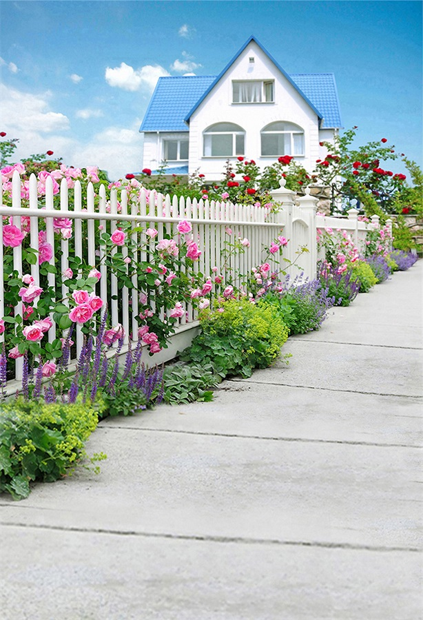 Laeacco House Yard Fence Flowers Photographic Backdrops Customized Photography Background For Photo Studio