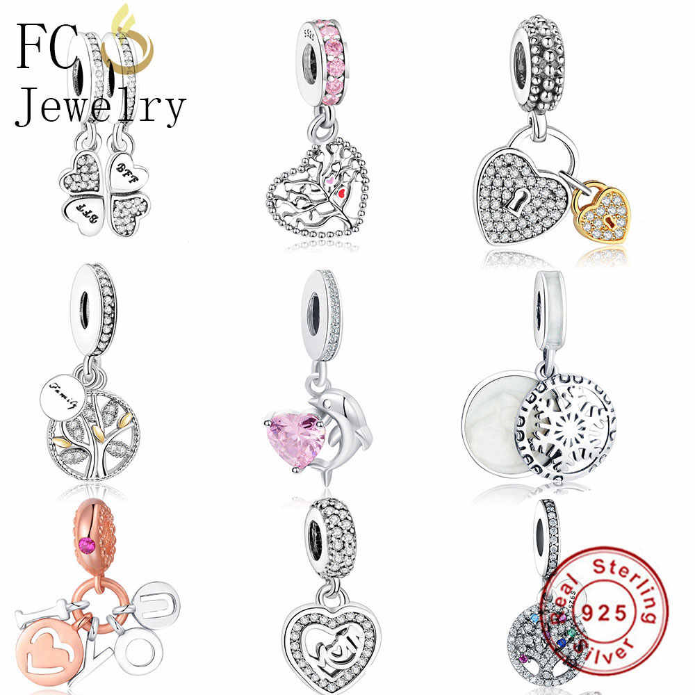 FC Jewelry Fit Original pandora Charms Bracelet 925 Sterling Silver Family Heart Tree of Life Mom Lockets Beads Necklace Pendant