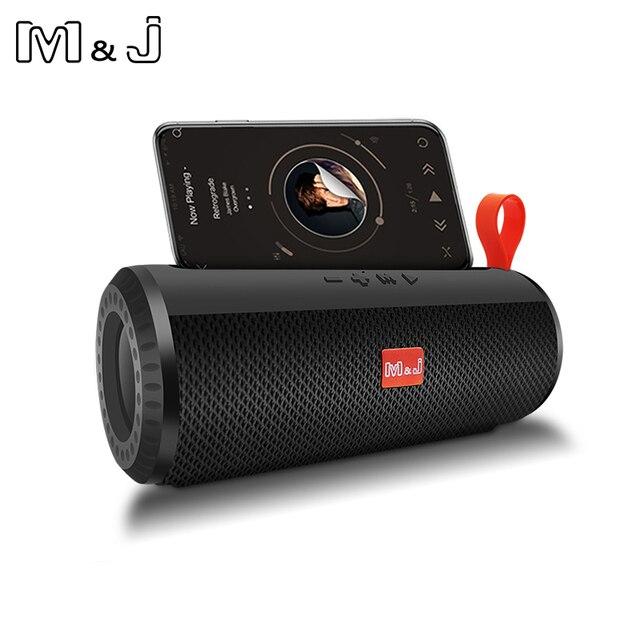 M & J اللاسلكية مكبر الصوت المحمول الذي يعمل بالبلوتوث مضخم صوت ستيريو العمود مكبر الصوت + TF المدمج في هيئة التصنيع العسكري باس FM USB MP3 الصوت بوم صندوق