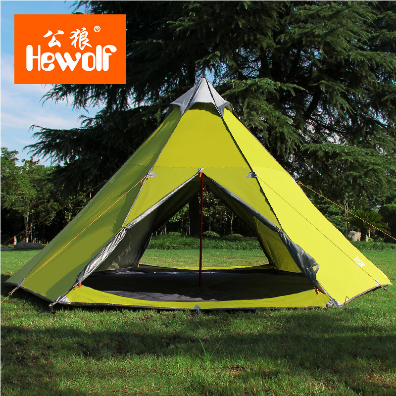 He wolf Mongolia people tent outdoor rain proof tent 6-8 Aluminum Alloy Good waterproof Against rainstorms camping