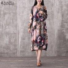 ZANZEA Women Vintage Mid-calf Dress 2016 Casual Loose O Neck Long Sleeve Floral Print Dresses Elegant Plus Size Vestidos
