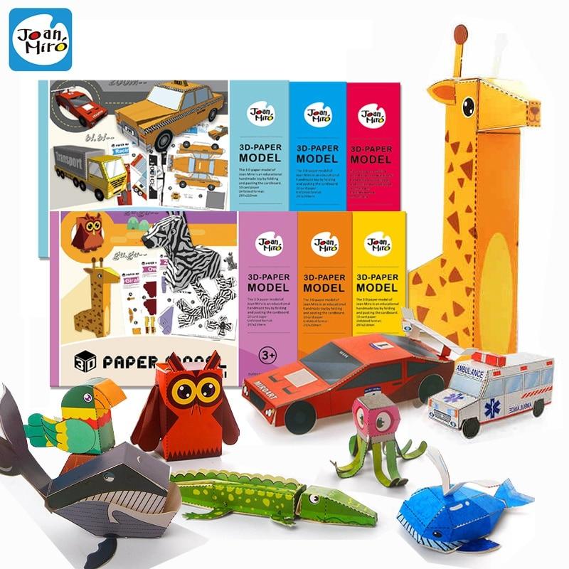 Enfants dessin animé 3D papier modèle bricolage artisanat jouet bébé animaux véhicule coupé couleur papier pour pliage maternelle artisanat jouet