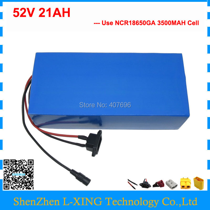 1000W 52V Li-ion battery 51.8V 21AH e-scooter battery 52V ebike battery use NCR18650GA 3500mah 18650 cell with charger pasion e bike 52v 12 8ah battery lg 18650 cell li ion electric bike battery hailong 52v cycling lithium battery with 2a charger