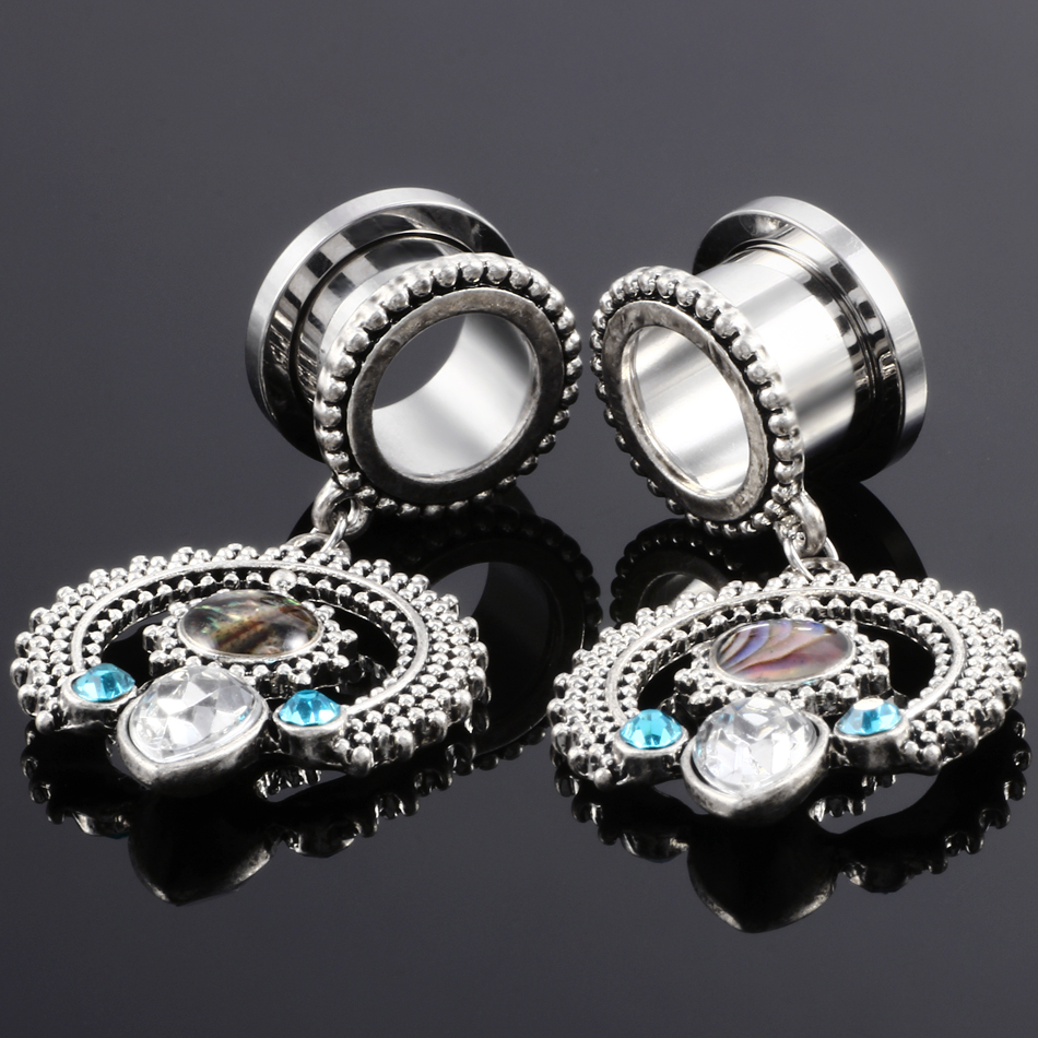 2Pcs Crystal New Surgical Steel Ear Plugs and Tunnel Piercing Oreja Tragus Ear Gauge Expander Stretcher