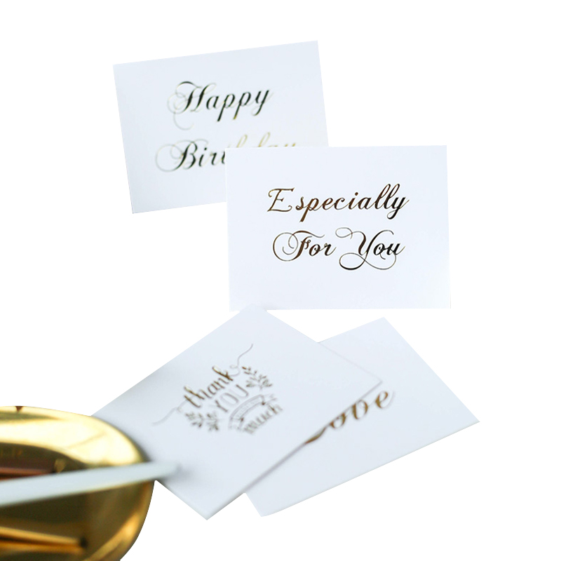 1Pc/lot Simple Gold Letter Card Party Foldable Greeting Card Thank You Gift Label Paper Cards Birthday Wedding Greeting Card