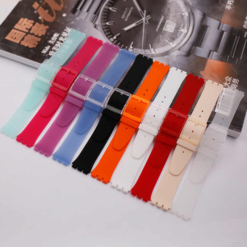 Watch Accessories Applicable for SWATCH Ultra-thin Series Replacement Substitute Silicone Strap 16mm SFK360 361 Availabl
