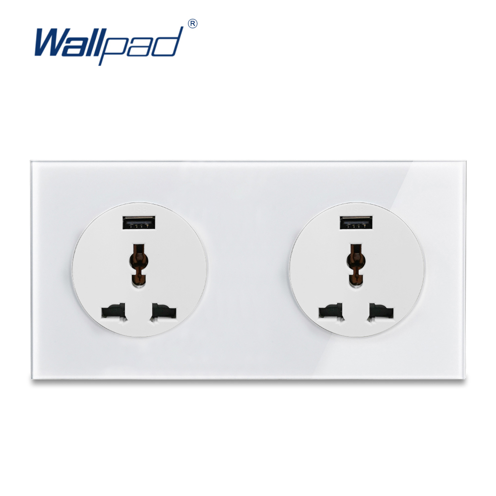 Double 3 Pin MF Socket With USB Charger 5V 2000MA Wallpad Luxury Tempered Crystal Glass Panel Electric Wall Power Socket 13A