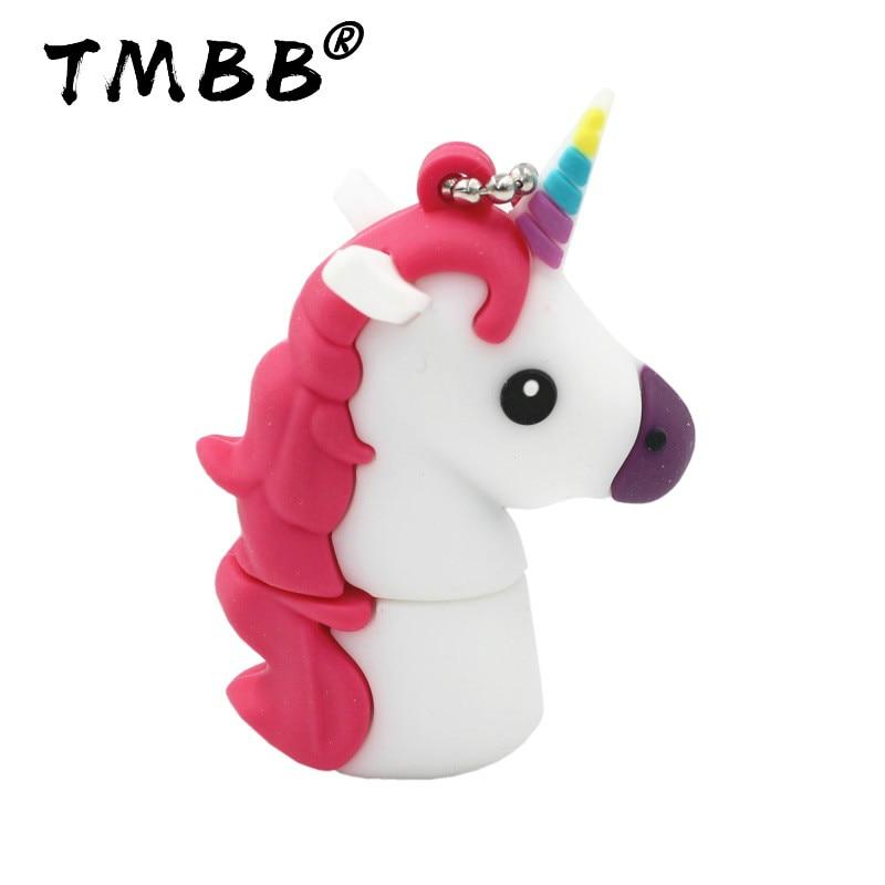 Cartoon Pink Unicorn USB Flash Drives 64GB Mini Pendrive 128GB 32GB 8GB 16GB 4GB Memory Stick USB 2.0 Pen Drive Flash Disk Gifts