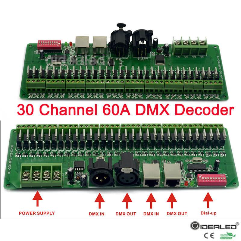 30 канала декодер dmx с RJ45 и XLR разъем 27 канал DMX512 декодер для DC12V-24V RGB Strip контроллер 60A dmx диммер драйвер