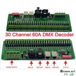 30 قناة DMX فك مع RJ45 و XLR التوصيل 27 قناة DMX512 فك ل DC12V-24V RGB قطاع تحكم 60A dmx باهتة سائق