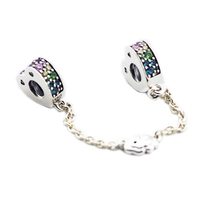 Multi Colored Arcs Of Love Safety Chain charm Fits pandora charms silver 925 original Beads Bracelets For Jewelry Making