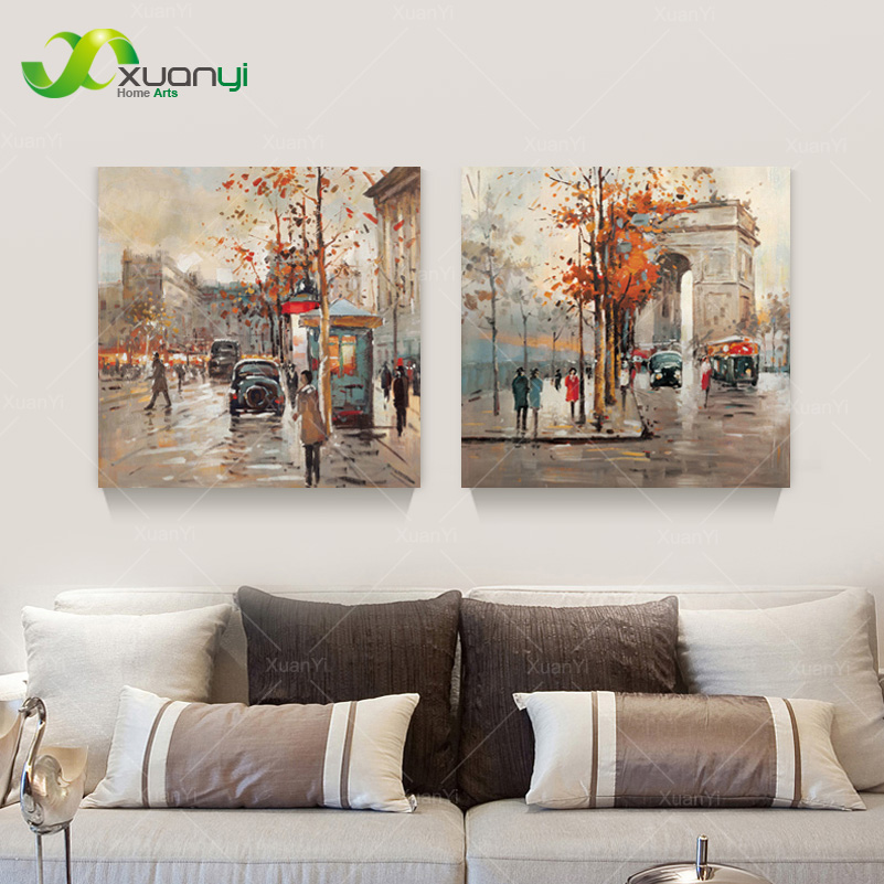 2 Pieces Canvas Art Modern Painting Street Landscape Oil Painting Wall Art Picture For Living Room Canvas Prints Unframed PR1167