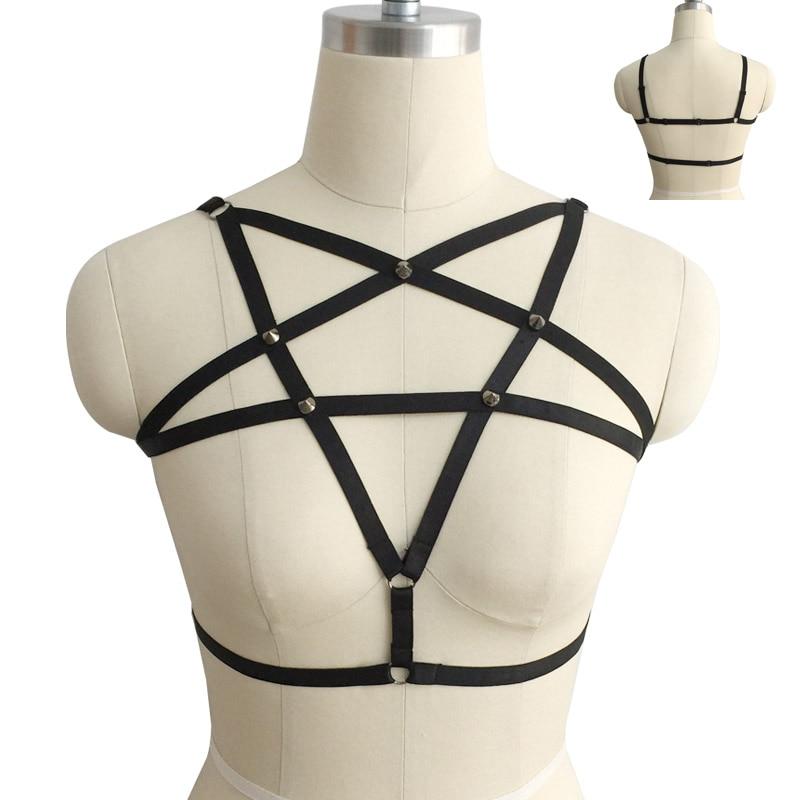Gothic Frauen Cage Bra Body Chest Harness Strappy Pentagramm Körper Gurt
