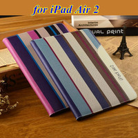New Fashion Top Quality Smart Cover for iPad Air 1 2 Luxury Ultra Thin Flip Stand PU Leather Case with Hand Strap Card Holder