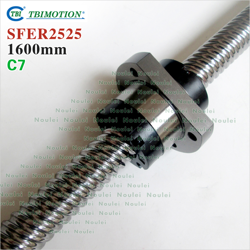 TBI MOTION 2525 BallScrew 1600mm with 25mm lead ball nut SFE2525 for CNC kit винт tbi sfkr 0802t3d