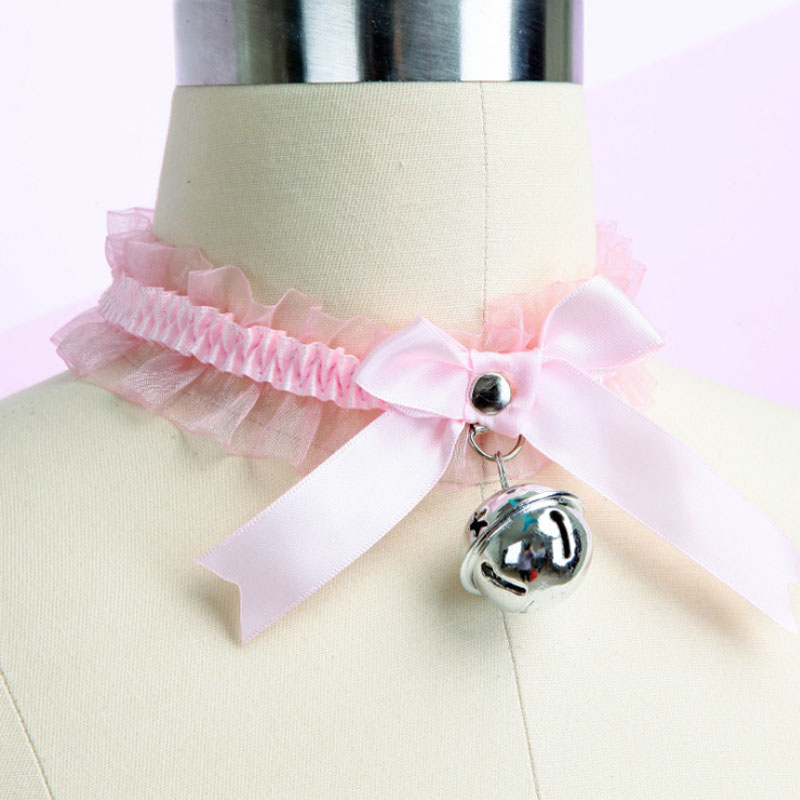 Japanese Anime Novelty Lace Bell Bow Neck Ring Cosplay Maid Lace Bell Adults Flirting Game Toys Accessories for Women Girls