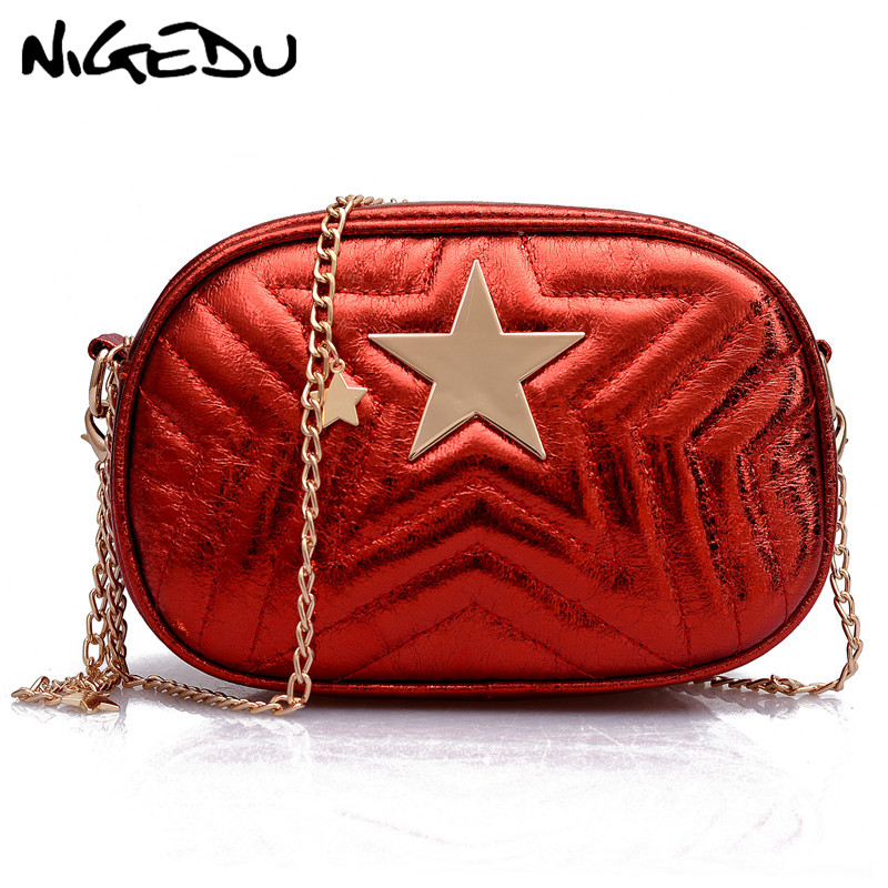 4ac46f1d2d Fashion Women Chain Shoulder Bag Strap pu Leather Flap Messenger Bags female  Mini Clutch Bag Star Printed Small Pruse Red bolsas