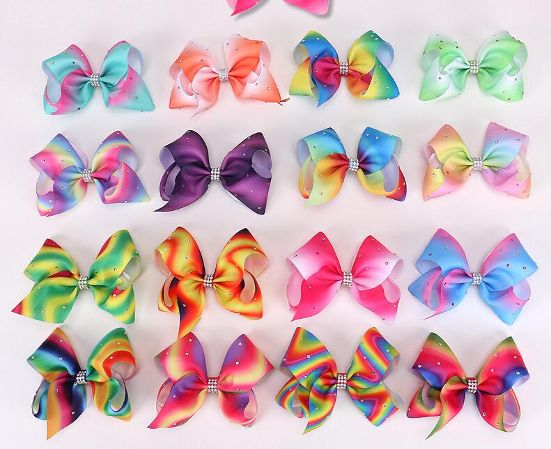 50pcs Newest 5inch ombre multi colours hair bows Alligator clips with crystal Boutique Rainbow Striped Sweet Accessories HD3473
