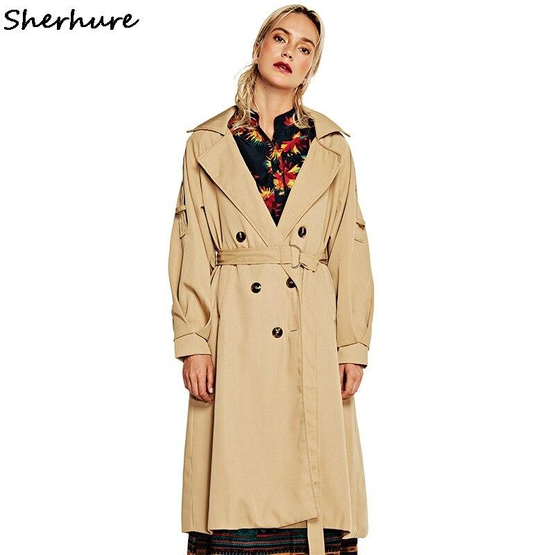 2019 Autumn Women Long Coat Turn Down Collar Drouble Breasted Women Khaki   Trench   Coat Casaco Feminino Abrigo Mujer   Trench   Femme