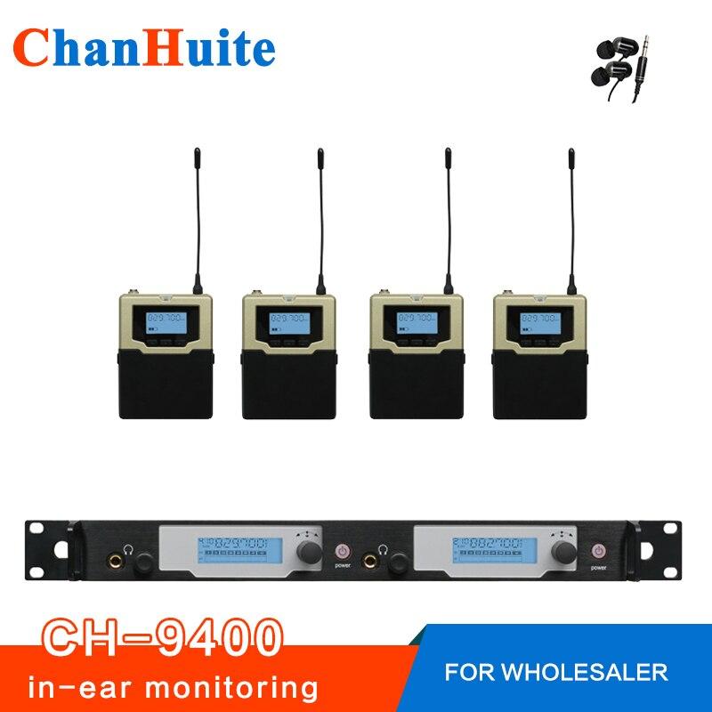 Najwyższa jakość! Bezprzewodowy monitor systemu dousznego profesjonalne monitory douszne kompletne dla 4 użytkowników, odbiorniki IEM 2 transmiter 4