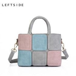 LEFTSIDE 2018 Новый стежка Повседневное из искусственной кожи Для женщин сумки для женщин маленькая рука сумка CrossBody сумка сумки на плечо