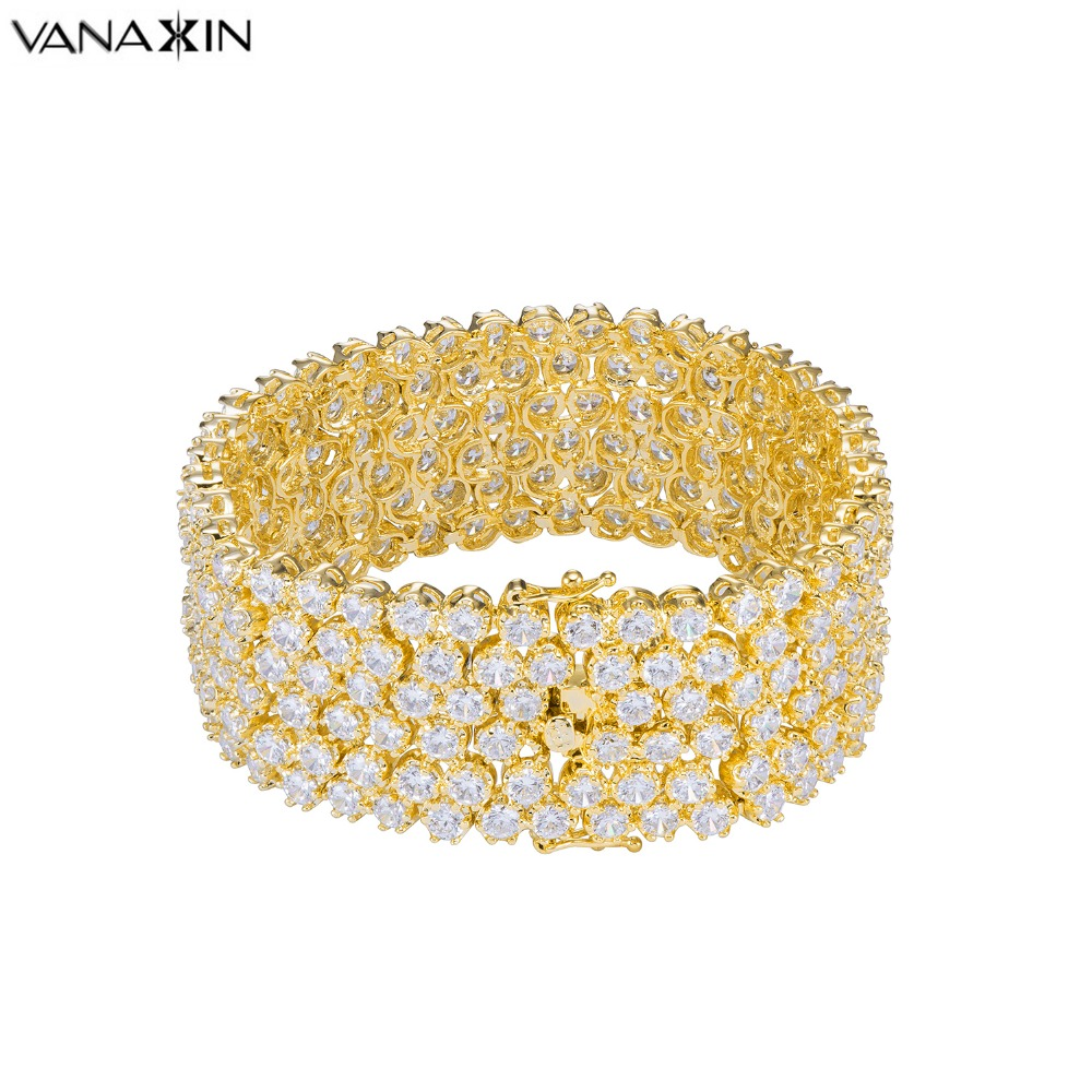VANAXIN CZ Paved Bling Bling Bracelet For Women Charming Wedding Jewelry Full Rhinestone Gift Silver Plated Gold Color 19CM Box multilayered gold plated textured rhinestone strand bracelet