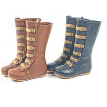Hand-made Genuine leather Girls boots Fashion Roman Snow boots kids Rain boots rivet children Boots Girls shoes