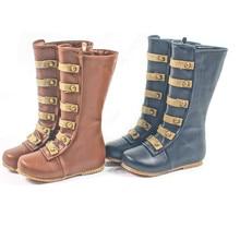 Ручной работы из натуральной кожи Обувь для девочек сапоги модные римские Зимние ботинки детские резиновые сапоги заклепки детей Сапоги и ботинки для девочек Обувь для девочек обувь
