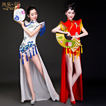 Chinese style woman Blue and White Porcelain Dance Garment Drum Costume Performance Classical National Dance Performance