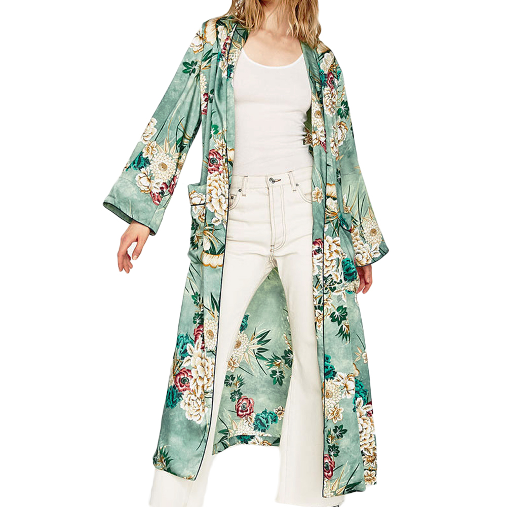 2018 New Vintage Retro Floral Print Green Color Long Design Kimono Coat Jacket Long Sleeve Cardigan Maxi Shawl Tops With Belt Punctual Timing Women's Clothing