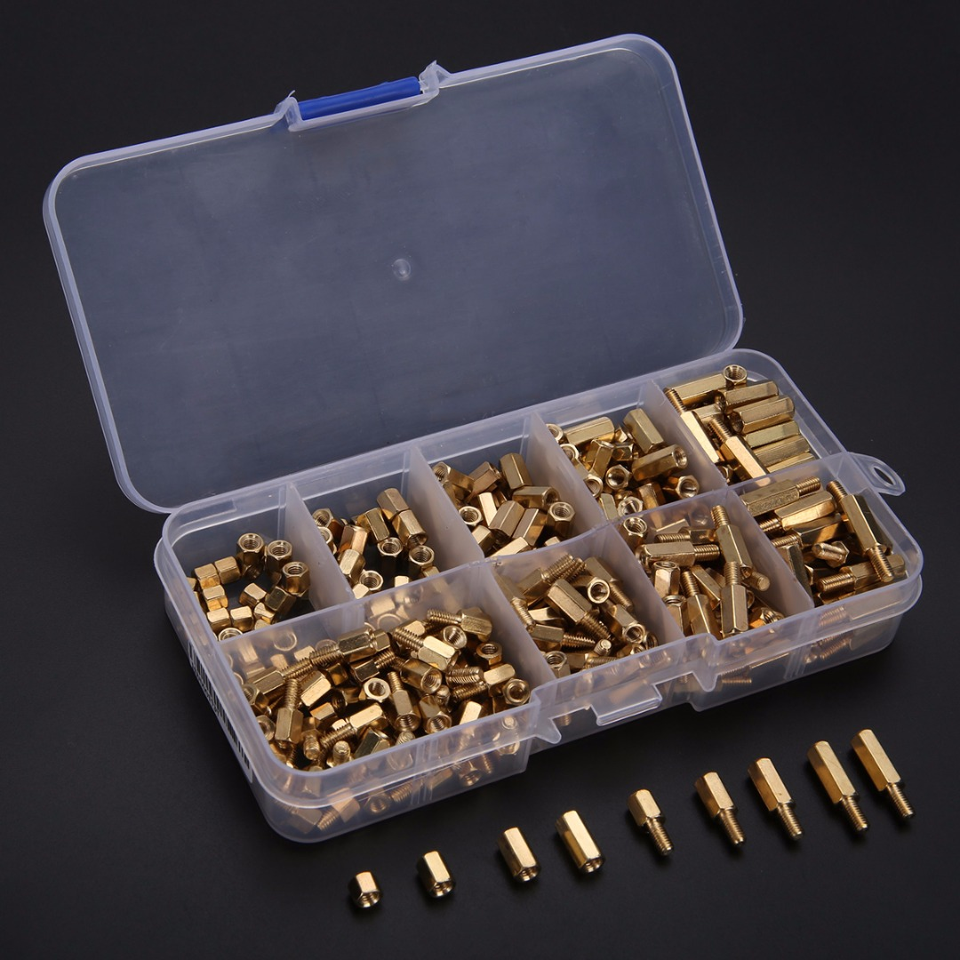 300pcs Waterproof Yellow M3 Brass Standoff/Spacer Screw Nut And Male Female Brass Hex Stand-Off Pillars Set Mayitr free shipping 100pcs lot metric thread din912 m4x12 mm m4 12 mm 304 stainless steel hex socket head cap screw bolts