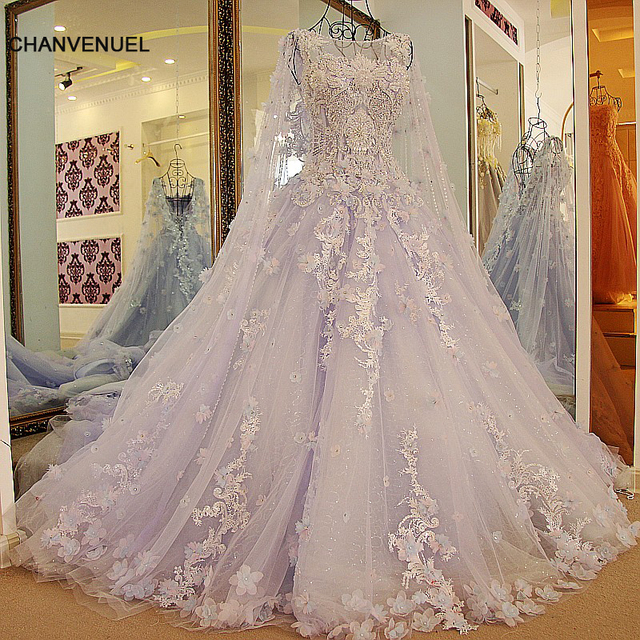 LS54770 New arrival long engagement dresses with long cape ball gown ...