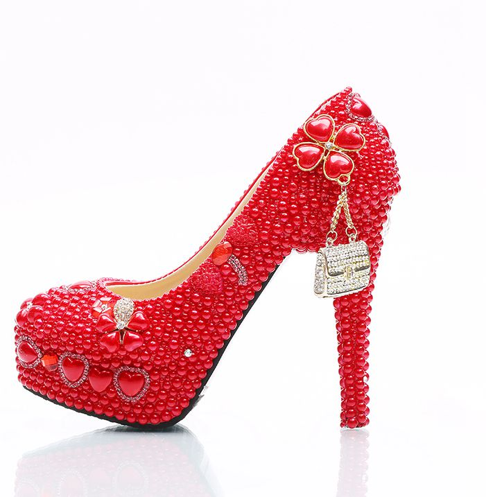 Plus size red pearls crystal wedding party shoes woman platforms super high heels HS087 ladies woman club bar party dress shoe