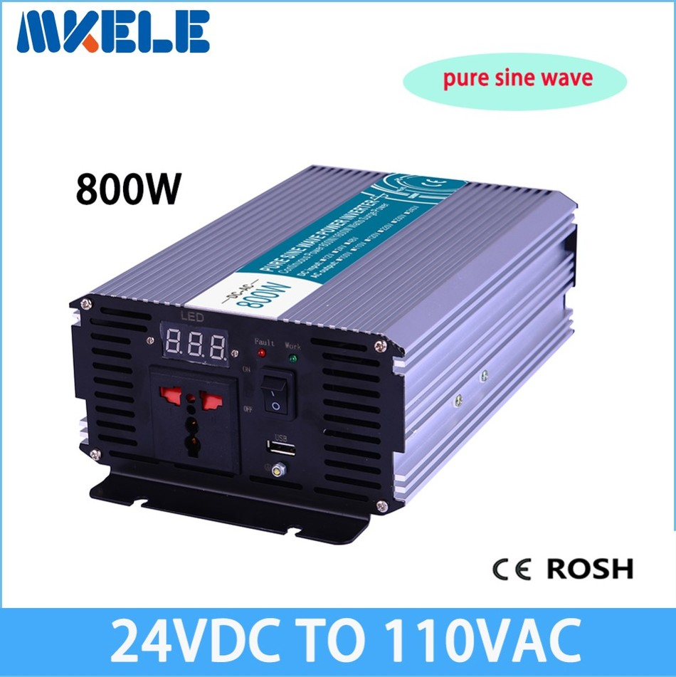 MKP800-241 off grid 24v to 110v output 800W pure sine wave go power inverter voltage converter,solar inverter LED Display