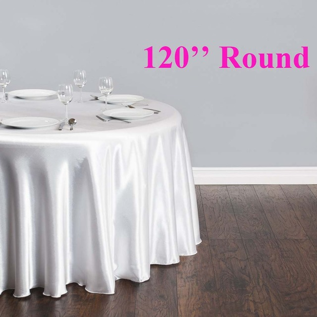 752b00587c1e6 Free Shipping 10pcs Cheap White 120'' Round Satin Table Cloths Banquet  Table Covers Wedding Table Linens