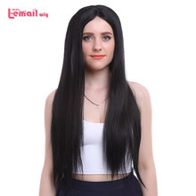 L-email wig Long Black Lace Front Wigs 22inches Synthetic Lace Front Wig Women Hair Heat Resistant Synthetic Hair Perucas(China)